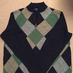 Men's Lambswool Argyle Preppy Pullover Zip Sweater